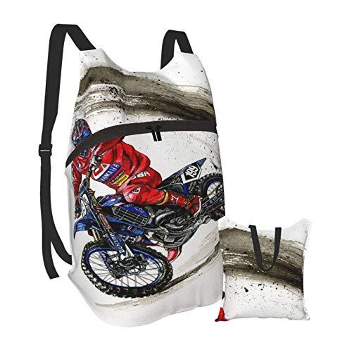 Dirtbike Motocross Moto Bike Extreme Dangerous Motorbike Art Hiking Backpack Men and Women Waterproof Portable Folding Backpack Travel Sports Shopping Ultra