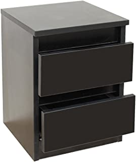 Stream Bedside Table, Bedside Drawers,Bedroom Drawers,Two Drawers Bedroom Furniture, Modern Minimalist Style (Black)