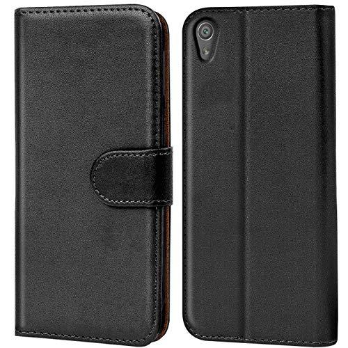 Verco Xperia XA Ultra Hülle, Handyhülle für Sony Xperia XA Ultra Tasche PU Leder Flip Case Brieftasche - Schwarz