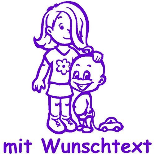 XL Babyaufkleber für Geschwister mit Wunschtext - Motiv G11-MJ (25 cm)