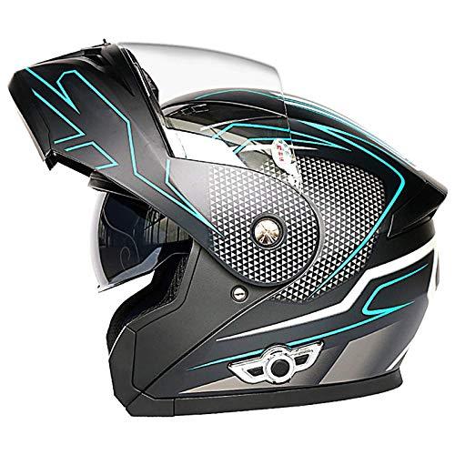 Casco modular para scooter eléctrico casco casco de motocicleta aprobado por ECE racing casco integral bluetooth para motocicleta de cross-country con visera doble para mujeres adultas,D,L
