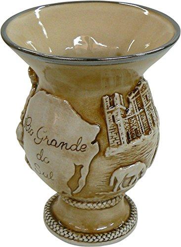 Cuia de Cerâmica Rio Grande do Sul, Com Relevo, Com Platina, 500ml, Marrom Escuro, Mondoceram