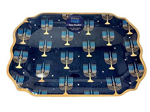 Happy Hanukkah Large Rectangular 18 in x 12.5 in Melamine Serving Platter - Blue with Gold and Light Blue Menorahs - Scalloped Edges