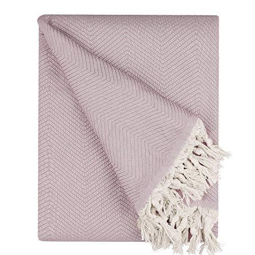 BOHORIA® Premium Tagesdecke Tulum - Bettüberwurf Wohndecke Wendedecke Kuscheldecke Sofadecke mit Muster | extra-groß 170 x 230 cm (Blush)