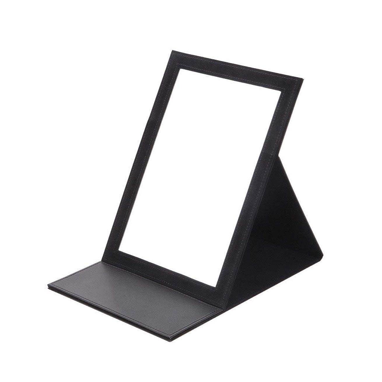 おしゃれじゃない純粋ななぞらえる化粧鏡 化粧鏡大型デスクトップデスクトップの折りたたみミラー (Color : Black, Size : 117*187CM)