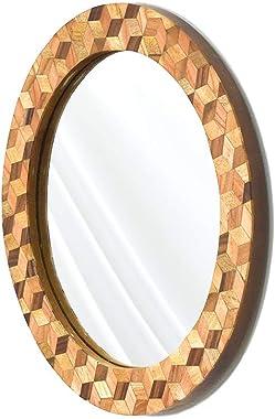 CASADECOR Wood Resin Wall Mirror (10 inch, Multicolour)