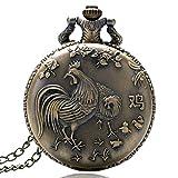 Nfudishpu Heiße Taschenuhr Chinese Zodiac Bronze Rooster Hen Design Taschenuhren Halskette Taschenuhr Geschenk