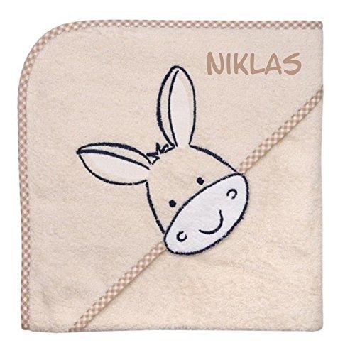 Wolimbo Kapuzenbadetuch mit Ihrem Wunsch-Namen und Tierkopf-Motiv - Format: 100x100cm - Motiv Esel beige - Das individuelle und kuschelig weiche Badehandtuch für Mädchen und Jungs