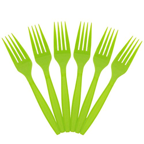 JAM PAPER Big Party Pack of Premium Plastic Forks - Lime Green - 100 Disposable Forks/Box
