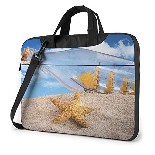 Bolsa de hombro para portátil – Playa Tema Conchas Impresas a prueba de golpes impermeable para portátil, Botella de deseos Seascape (Blanco) - 259841