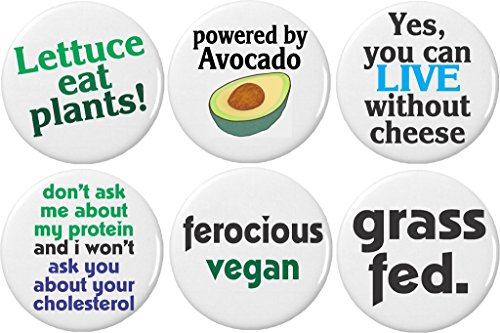 """Set 6 Cute Funny Vegan Quotes Sayings 2.25"""" Large Magnets Lettuce Avocado Grass Fed"""