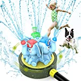 Chriffer Kid Water Sprinkler Splash Play Toy for Yard for Toddler 1-10 Years Old Boy and Girl, Elephant Wiggle Sprayer Compatible with 3/4in Garden Hose - Sprays Up to 10ft High and 16ft Wide - Blue