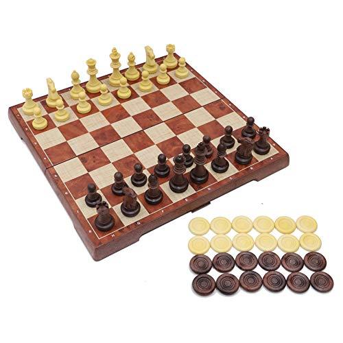 T Tocas Tablero de Piezas de ajedrez magnético y Juego de ajedrez Plegable 2 en 1 para niños, Adultos, 31 cm x 31 cm