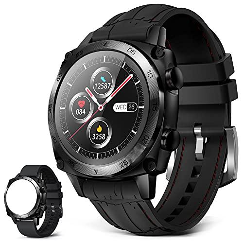 CUBOT C3 - Reloj inteligente para hombre, pantalla táctil de 1,3 pulgadas, resistente al agua hasta 5 ATM, reloj redondo de negocios con podómetro, compatible con iOS Android, color negro