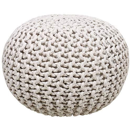 RAJRANG BRINGING RAJASTHAN TO YOU Boho Ottoman Décor Pouf Outdoor Indoor Perfect Seat for Foot Rest ''Small Space'' Round Ottomans Poufs Patio - Ivory - (D-23 X H-16)