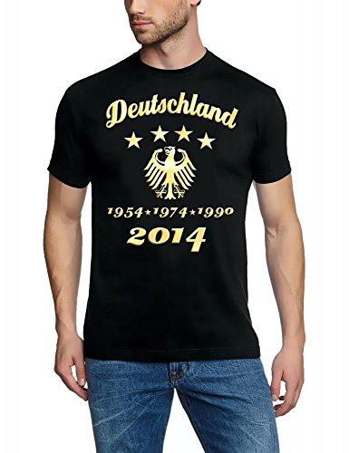 4. Stern ! WM 2014 Fußball Deutschland Adler Gold 4 Sterne T-Shirt schwarz-Gold, Gr.5XL