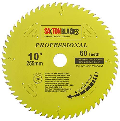 Saxton TCT25560TPRO - Lama per sega circolare professionale TCT, 255 x 60 denti x 30 mm, foro 16, 20, 25, 25,4 mm, anelli di riduzione compatibili con Evolution Bosch Makita Dewalt ecc.