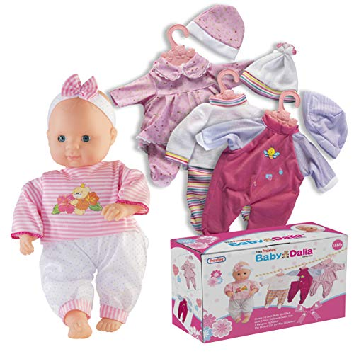Prextex 12-Piece Baby Doll with Clothes Set - Baby Dalia 14-Inch Girl Doll with 4 Nice Outfit Sets and 3 Hangers - Best Gift for Toddlers and Girls