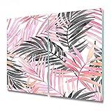 Coloray Tabla De Cortar Placa De Induccion 2x30x52cm Protector Para Servir Platos Cocina Vidrio Templado - Hojas de hojas de palma