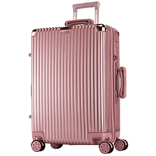 Thicken Luggage, Strong and Sturdy ABS Lightweight with Spinner Wheels Suitcase for Adults Tourism Student Vacation-44x26x67cm-Rose Gold