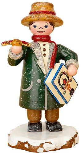 Kleine Figuren & Miniaturen Winterkinder Vater kauft ein - 8cm - Hubrig Volkskunst