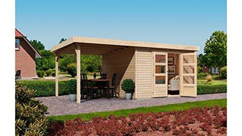 KARIBU Gartenhaus Arnis 4, mit seitlichem Schleppdach (ca. 220cm) natur