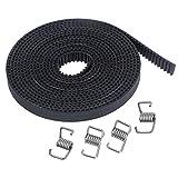 Modelo: GT2; Ancho: 6 mm; Parcela: 2mm; Longitud: 5 m Material: Caucho Premium. Más duradero y flexible. Diseñado específicamente para movimiento lineal, alta precisión de posicionamiento. Con los resortes de bloqueo, puede agregar la tensión correct...