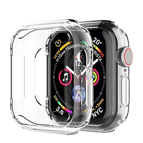 Hankn Compatible with Apple Watch Case Clear 44mm, Soft TPU Bumper Shock-Proof Screen Protector Slim Cover for Apple iWatch Series 4 5 (Clear 44mm)