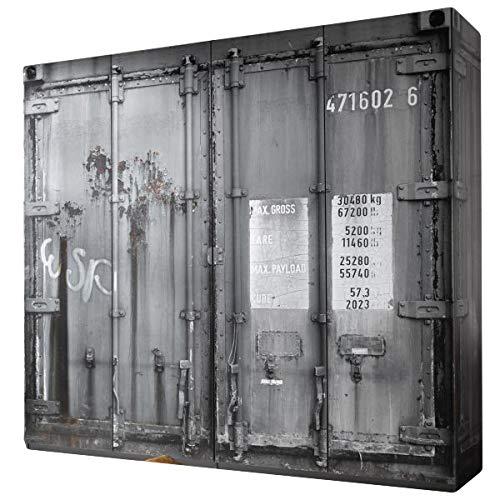 Kleiderschrank Josh Container-Optik 4 Türen B 237 cm Kinderzimmer Jugendzimmer Schlafzimmer Drehtüren Wäscheschrank