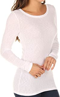 Michael Stars Women's Slub Long Sleeve Band Crew Tee Shirt