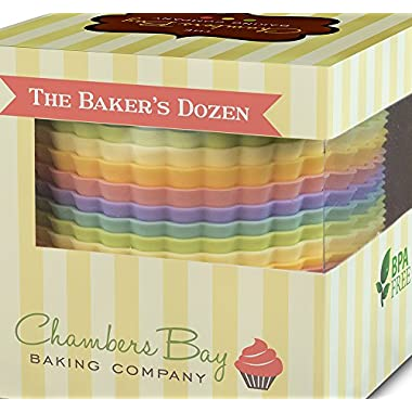 Silicone Baking Cups/Jumbo Size/13 Reusable Nonstick Cupcake Liners/Premium Muffin Molds - Stand Alone Cupcake Holders - No BPA - Gift Set - 6 Designer Colors