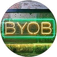 BYOB Bring Your Own Bag Shop Dual Color LED看板 ネオンプレート サイン 標識 緑色 + 黄色 400 x 300mm st6s43-i3376-gy