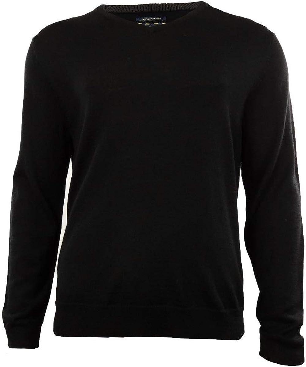 Club Room Mens Wool Blend Ribbed Trim Pullover Sweater Black M