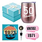 1971 50th Birthday Gifts for Women - 50 & Fabulous - Funny Wine Gift Set for 50th Birthday BFF, Best Friend, Sister, Coworker, Wife, Aunt - 50 Year Old Party Supplies Decorations for her