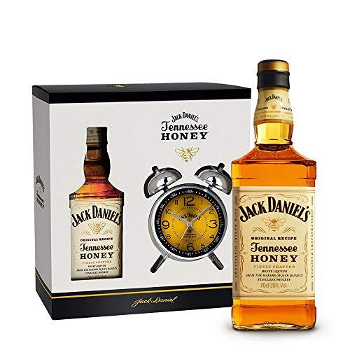 Jack Daniel's Honey Set mit Wecker/Doppelglockenwecker Retro Design (1 x 0,7 Liter)