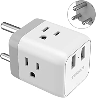 South Africa Power Adapter, TESSAN 5 in 1 Botswana Travel Adapter Plug with 3 US Power Outlets and 2 USB Charging Ports, US to South Africa Botswana Zimbabwe Plug Adapter - Safe Grounded Type M Plug