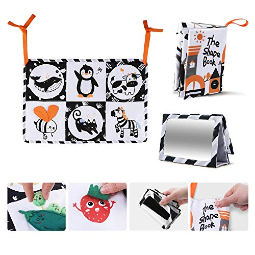 TUMAMA 3 Packs Newborn Black White Toy Gifts Sets, Soft Cloth Shape Book, Crib Play Mats High Contrast Double Sides, Floor Mirror Books Letters Numbers Animals for Baby 0 3 6 9 12 Months