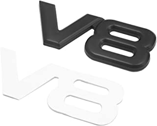 uxcell Silver Tone Metal V6 Pattern Adhesive Badge Emblem Sticker Decals for Car