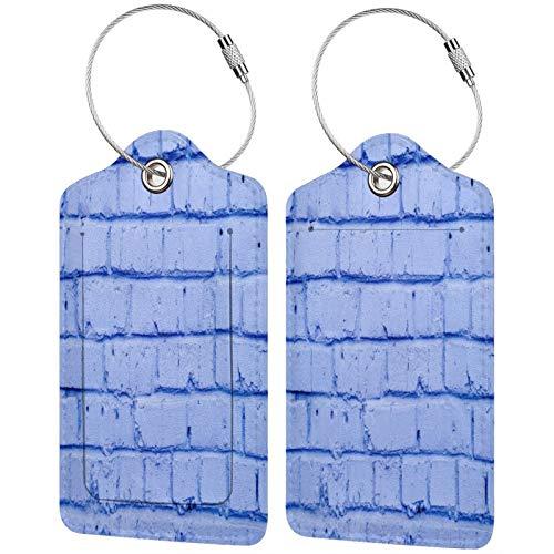 FULIYA Etiquetas para equipaje de viaje con etiquetas de identificación para tarjetas de visita, juego de 2, ladrillos, pared, pintadas, lila.