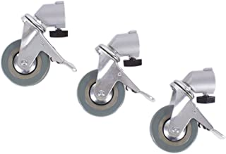 Fovitec - 1x Photography & Video Light Stand Caster Wheels - [Easy-Glide Rubber Wheels][Step-On Locks][360 Swivel][Steel Construction][Pack of 3]