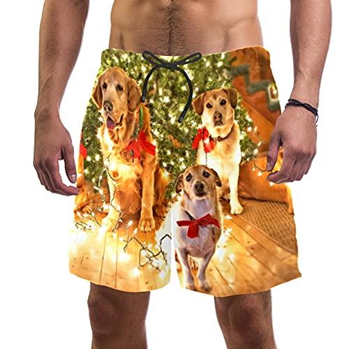 RuppertTextile Pantalones Cortos Hombre Bañadores Secado rápido Bolsillos Cordónfelices Perros Lindos Navidad Trajes baño Playa Deportivos Casuales