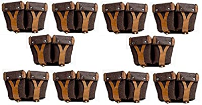 Ultimate Arms Gear 10 Pack Surplus Original Russian Military Mosin Nagant Leather Dual Stripper Clips Pouch 7.62X54R M38 M44 91/30 1891 91 30 Rifle