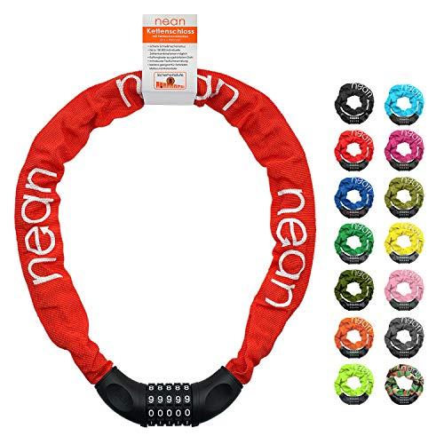 nean candado de cadena para bicicleta con combinación de código numérico y alto nivel de seguridad, eslabones de cadena de acero templado, 6 mm x 900 mm, rojo