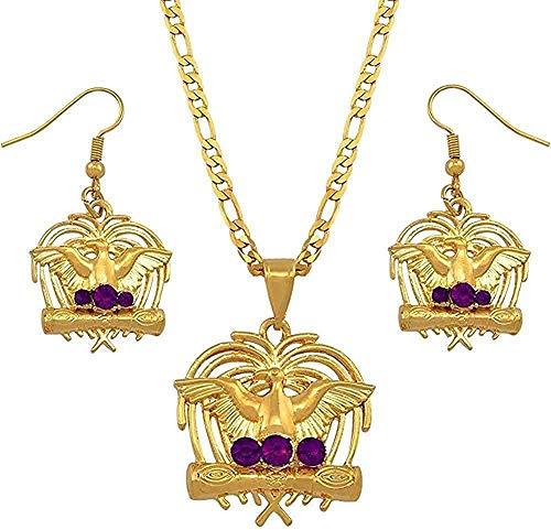 Collar pájaro con piedras púrpuras Papua Guinea collar pendientes conjuntos para mujeres estilo joyería fiesta regalos longitud 60 cm x 3 mm collar