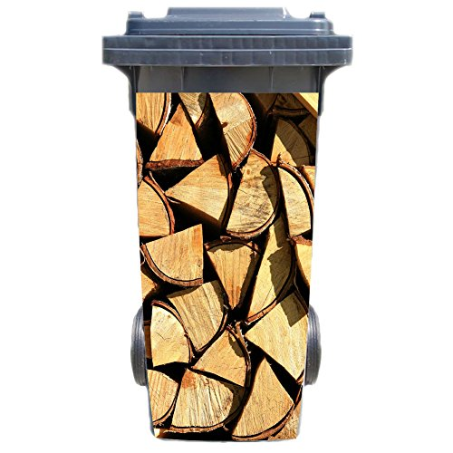 SHIRT-TO-GO Aufkleber für Mülltonne Mülltonnenaufkleber - Motiv Brennholz Kaminholz