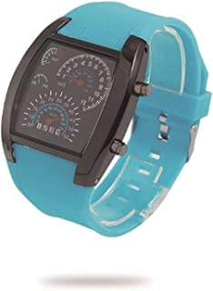 DFRZ Retro Speed Sports Car Instrument, Personalized LED Fan-shaped Watch, Fashion Led Male Watch, Holiday Gift, Simple and practical product (Color : Light blue)