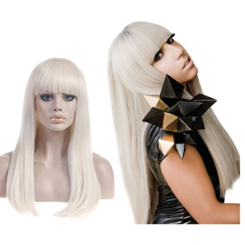 SARLA Long White Blonde Wig with Bangs 25 Inch Straight Cosplay Wig for Women Halloween Party Costume Herat Resistant Fiber (Lw014)