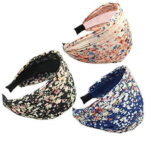 Ogquaton 3pcs fille filles beauté large rétro fleur imprimer bandeau plissé bande de cheveux durable et utile