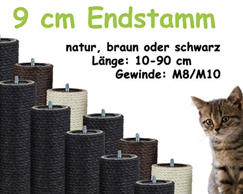 Kratzbaumland 9 cm Endstamm mit Stehbolzen, Ersatzstamm für Kratzbaum: Länge: 10 cm/Gewinde: 10 mm (M10), Farbe des Sisalseils - schwarz