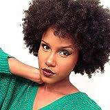 Becus Pelucas Afro corto rizado 100% Cabello humano Peluca para mujeres negras uso diario negro natural (#1B)